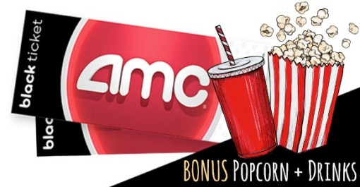 2 AMC Black Movie Tickets + 2 Drinks + 2 Popcorn + $50 Card