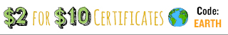 $2 for $10 Certificates!